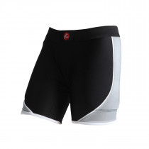 WOMEN'S CROSSOVER SLIDING SHORTS W/FOAM BLACK BASE COLOR